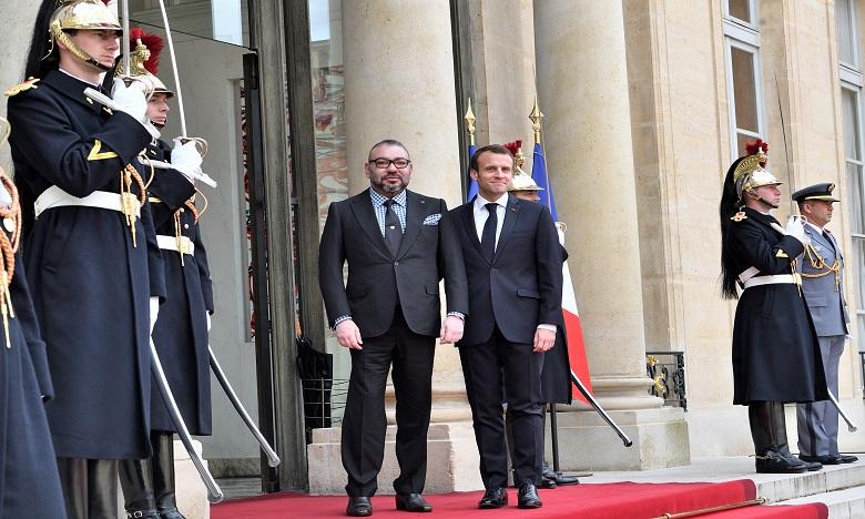 Sa Majesté le Roi Mohammed VI reçu à l'Élysée par le Président de la République française M. Emmanuel Macron