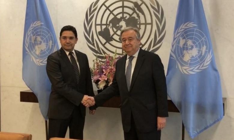 M. Bourita remet au Secrétaire Général de l'ONU un message écrit de Sa Majesté le Roi
