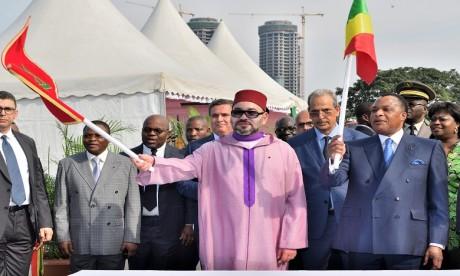 S.M. le Roi et le Chef de l'Etat congolais lancent les travaux de construction du point de débarquement aménagé de Yoro à Brazzaville