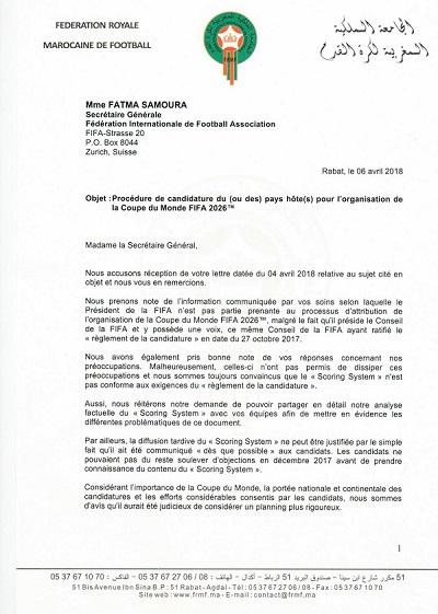 La FRMF n'est pas convaincue de la réponse de la FIFA