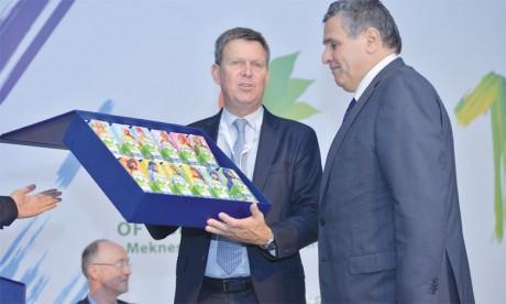 Aziz Akhannouch, ministre de l'Agriculture, et Didier Lamblin, PDG de Centrale Danone, lors du lancement à Meknès du programme «Fellah Bladi»Ph. Saouri