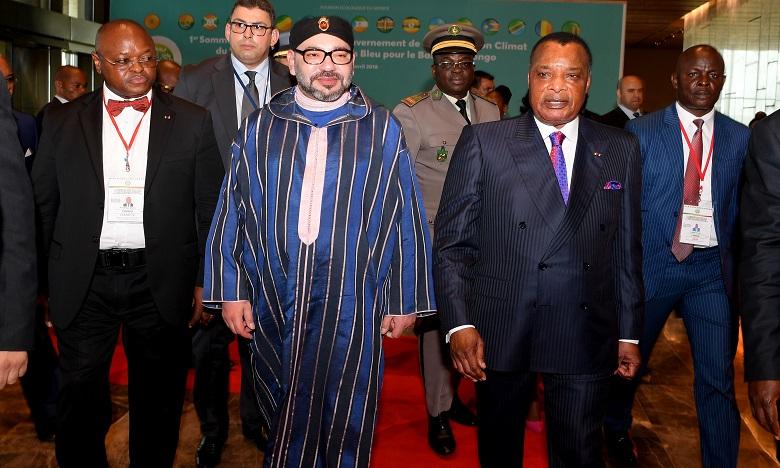 Arrivée de S.M. le Roi au Centre International de Conférence de Kintélé à Brazzaville