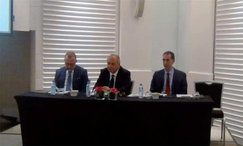 David Toledano (au centre), président de la Fédération des industries des matériaux de construction, le 10 mai2018 à Casablanca.  Ph. DR