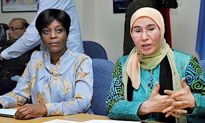 La secrétaire d'État chargée du Développement durable, Nezha El Ouafi, et la ministre du Tourisme et de l'environnement de la République du Congo, et coordinatrice technique de la Commission, Arlette Soudan Nonault.  Ph. MAP