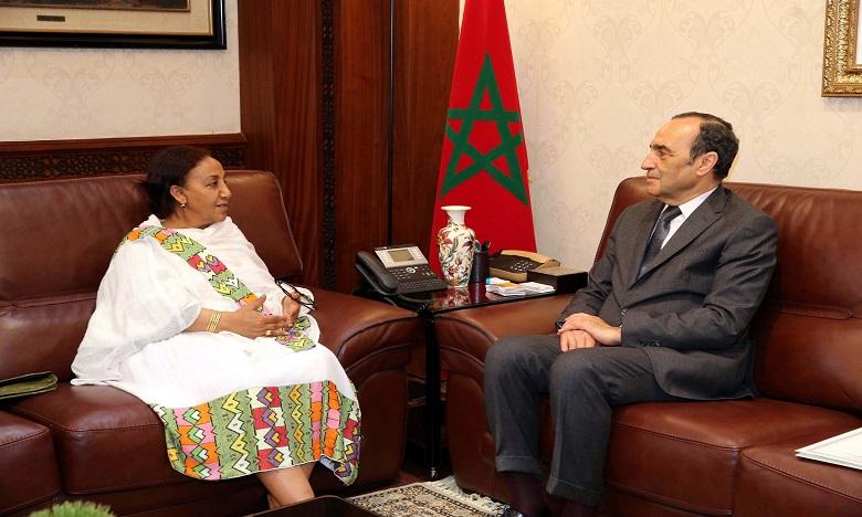 Habib El Malki a reçu l'ambassadrice de l'Ethiopie, Yeshi Tamrat, mercredi dernier au siège du parlement. Ph. MAP