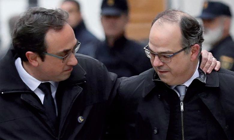 Josep Rull (gauche) et Jordi Turull ont été inculpés, aux côtés d'autres  ex-responsables catalans, de «rébellion», en rapport avec la tentative  de sécession.