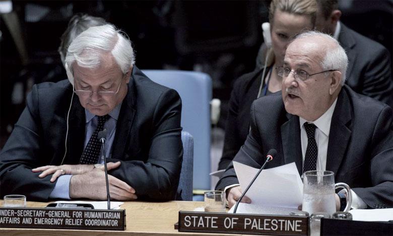 L'ambassadeur palestinien aux Nations unies, Riyad Mansour, au Conseil de sécurité de l'ONU où il était venu  plaider une protection pour son peuple, à New York, le 15 mai.                                                                                                  Ph. ONU
