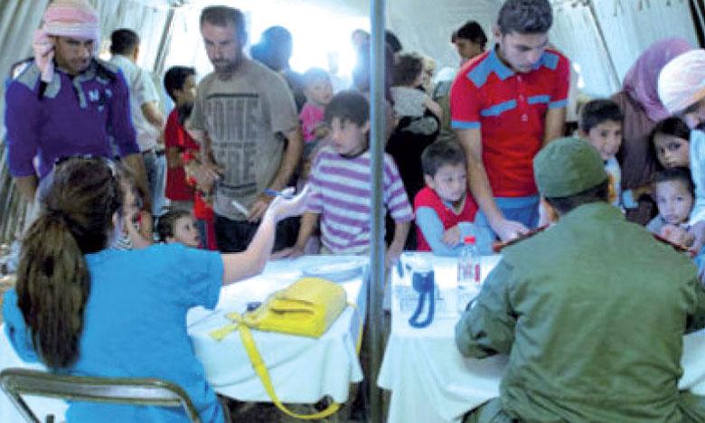 Réception à l'hôpital de campagne marocain du camp Zaatari à l'occasion du 62e anniversaire de la création des FAR