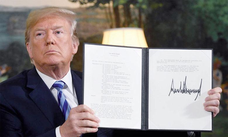 Le Président des États-Unis a mis sa menace à exécution, en annonçant  le 8 mai le retrait de son pays de l'accord conclu avec l'Iran. Ph. AFP