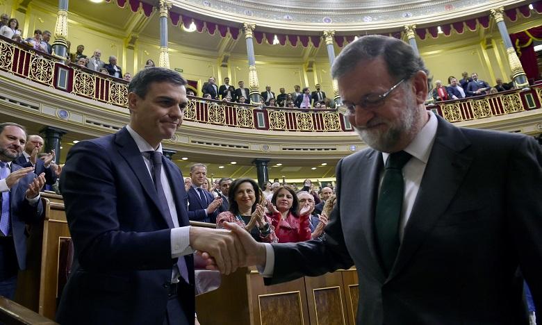 Le sort de M. Rajoy s'est joué en à peine une semaine depuis le dépôt vendredi dernier de la de la motion de censure par le Parti Socialiste de Sanchez. Ph. AFP
