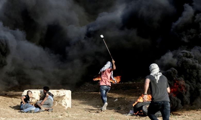 Au moins 129 Palestiniens ont été tués dans la bande de Gaza par des tirs israéliens depuis le début le 30 mars de manifestations le long de la clôture frontalière. Ph : AFP