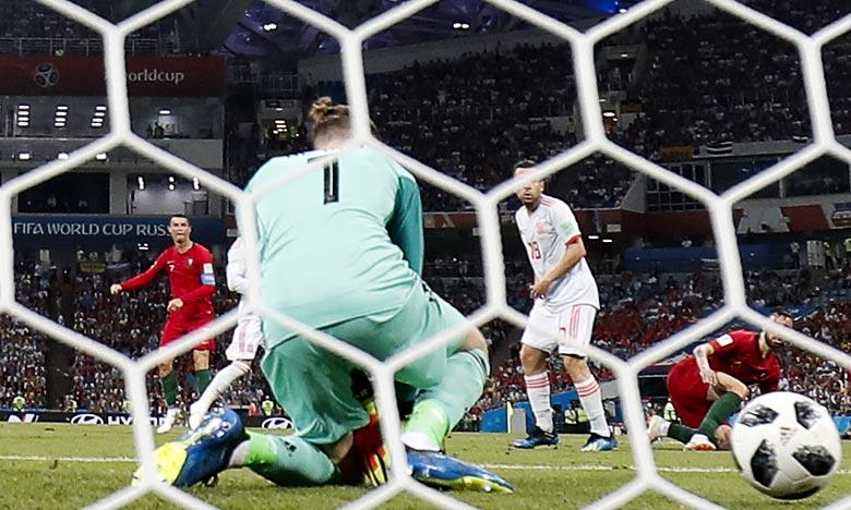 L'attaquant vedette du Portugal, Cristiano Ronaldo, auteur d'un triplé face à l'Espagne lors du Mondial, à Sotchi. Ph : AFP