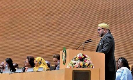 S.M. le Roi Mohammed VI avait prononcé un discours historique devant le 28e sommet de l'Union africaine, le 31 janvier 2017 à Addis-Abeba. Ph. MAP