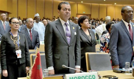 S.M. le Roi Mohammed VI a appelé à une vision africaine commune sur la migration dans Son discours adressé au 29e Sommet de l'Union africaine, le 3 jJuillet 2017 à Addis-Abeba, et dont la lecture a été donnée par S.A.R. le Prince Moulay Rachid. Ph. MAP