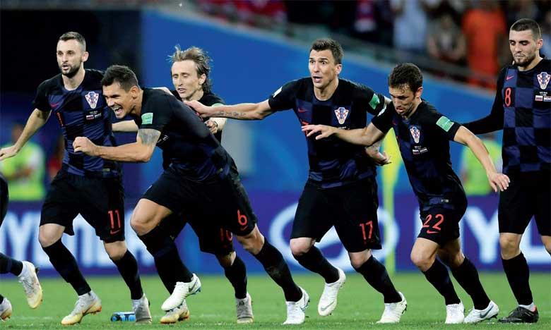 La joie des joueurs croates en atteignant les demi-finales, après 20 ans d'attente.