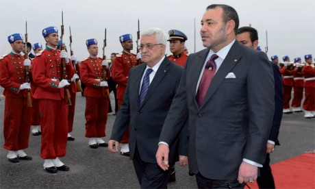 Le Président de l'Etat de Palestine, Mahmoud Abbas, avait pris part aux travaux de la 20e session du Comité Al-Qods organisée les 17 et 18 janvier 2014 à Marrakech sous la Présidence Effective de Sa Majesté  le Roi Mohammed VI. Le Président palestinien a été accueilli par S.M. le Roi Mohammed VI. Ph. MAP