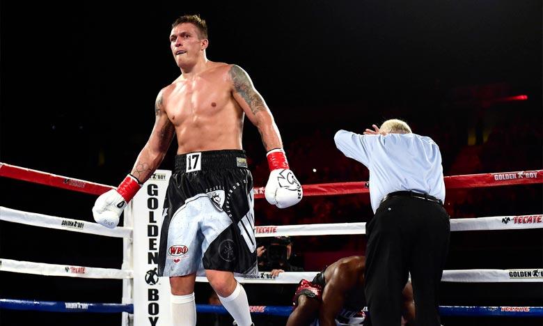 L'Ukrainien Oleksandr Usyk, lors du Championnat WBO des lourds-légers, à Inglewood en Californie. Ph : AFP