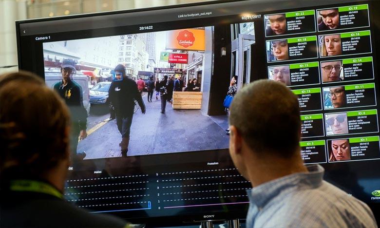 Un système de reconnaissance faciale présenté lors d'une conférence technologique, le 1er novembre 2017, à Washington. Ph : AFP