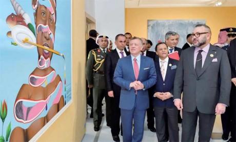 S.M. le Roi Mohammed VI et le Souverain du Royaume Hachémite de Jordanie, S.M. le Roi Abdallah II, avaient inauguré, le 23 mars 2017 au Musée Mohammed VI d'art moderne et contemporain à Rabat, la manifestation culturelle et artistique «L'Afrique en Capitale».Ph. MAP