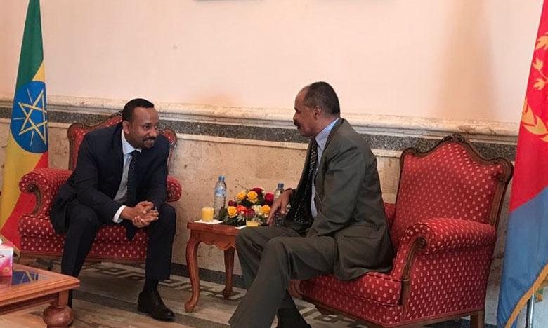Le Premier ministre éthiopien, Abiy Ahmed (à gauche), et le Président érythréen, Isaias Afwerki, à Asmara, en Érythrée.                                                       Ph. Bureau du Premier ministre éthiopien.
