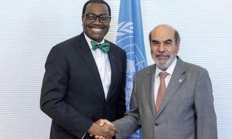L'accord a été signé par le président de la BA Akinwumi Adesina (à gauche) et le directeur général de la FAO, José Graziano da Silva, au siège de la FAO à Rome.                                                                                                                                  Ph. FAO