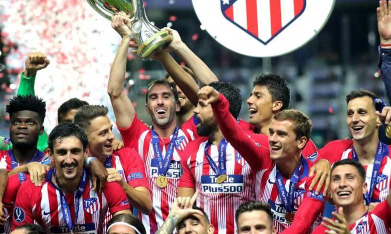 Les joueurs de L'Atlético de Madrid exultant après leur victoire sur le Real de Madrid.