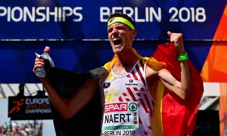 C'est un véritable exploit qu'a réalisé Koen Naert, à Berlin, où il a remporté le titre de champion d'Europe du marathon en en 2 h 09 min 51 sec. Ph : AFP