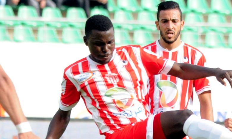 L'unique but de la rencontre  entre Club Athletic Youssoufia Berrechid et Hassania Union Sport d'Agadir a été marqué par le joueur malien Mamadou Dembélé à la 24e minute du jeu. Ph : Seddik