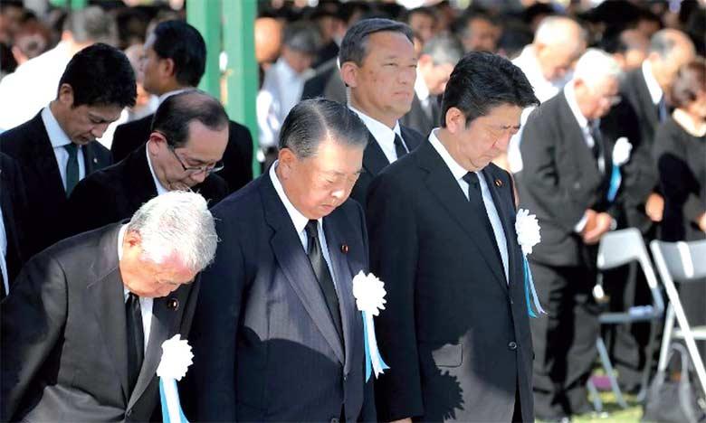 Le Premier ministre japonais, Shinzo Abe, lors des commémorations du 73e anniversaire du bombardement atomique d'Hiroshima.  Ph. AFP