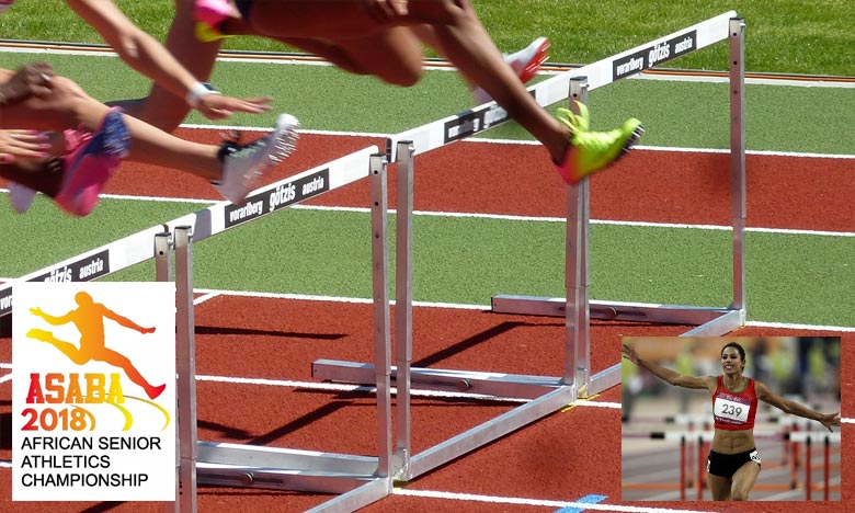Lamia Lhabz a signé un chrono de 56 sec 66/100e, lors de  la 21e édition des Championnats d'Afrique d'Athlétisme seniors. Ph : DR