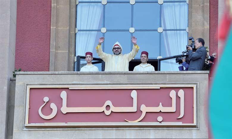 13 octobre 2017: Dans un discours prononcé devant les membres des deux Chambres du Parlement, S.M. le Roi Mohammed VI a appelé à l'élaborationd'une nouvelle politique intégrée dédiée à la jeunesse marocaine.         Ph. MAP