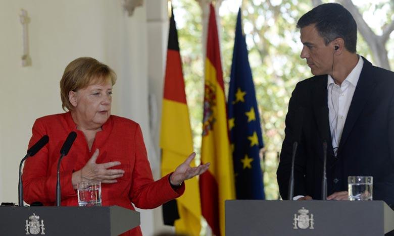 Autour de la question de l'immigration, rencontre entre la chancelière allemande Angela Merkel et le chef du gouvernement espagnol, Pedro Sanchez à Sanlucar de Barrameda, en Andalousie, en Espagne. Ph : AFP