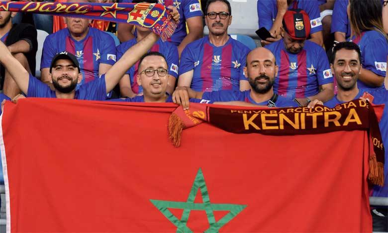 Les supporters ont fièrement arboré les couleurs du Maroc et du Barca. Phs. Seddik