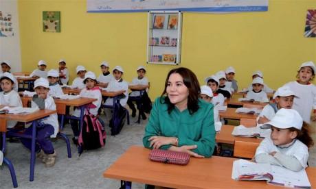 16 mars2018: S.A.R. la Princesse Lalla Hasnaa, Présidente de la Fondation Mohammed VI pour la protection de l'environnement, a visité l'éco-école «Al Masjid» à Aïn Aouda.      Ph. MAP