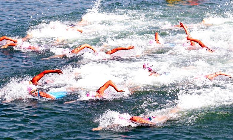 L'équipe du FUS de Rabat de natation en eau libre, s'était déjà imposée, lors des compétitions par équipe avec un score total de 115 points. Ph : MAP