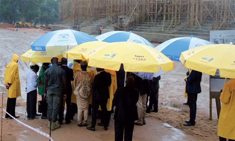 Les membres de la mission d'inspection de la CAF lors de leur visite sur le site de Garoua.
