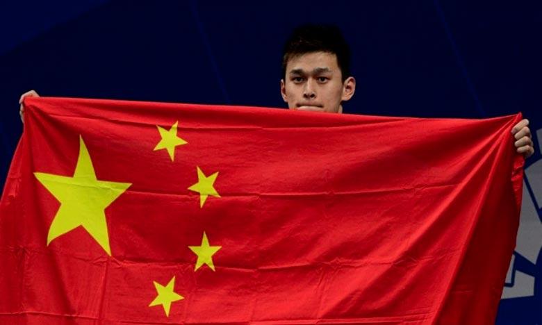 Le Chinois Sun Yang, médaillé d'or des 200, 400 et 800 m nage libre, aux Jeux asiatiques, à Jakarta. Ph : AFP