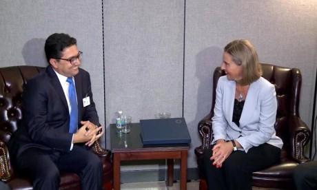 Rencontre entre, Nasser Bourita, ministre des Affaires étrangères et de la Coopération internationale et Federica Mogherini, vice-présidente de la CE. Ph : DR