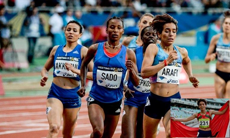 Grâce à sa troisième place de l'épreuve du 1.500 m avec un chrono de 4 min 17 : 19, Rabab Arrafi réalise la troisième meilleure performance de l'histoire de la participation féminine du Maroc à Ostrava. Ph : DR