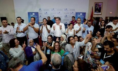 Aziz Akhannouch avec la jeunesse de son parti.