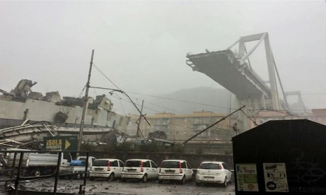 Le 14 août, le viaduc Morandi, qui traverse Gênes sur l'autoroute la reliant à la France, avait fait 43 morts et des dizaines de blessés. Ph. AFP