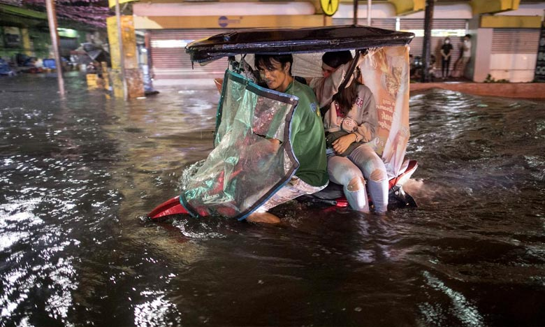 Les rues de Manille, aux Philippines, ont été inondées par la tempête tropicale Yagi. Antonio Guterres estime que des conséquences «désastreuses» seront à déplorer en cas d'inaction dans les deux années qui viennent. Ph : AFP