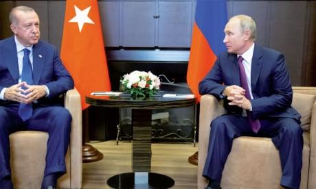Les présidents russe et turc le 17 septembre 2018 à Sotchi en Russie.        Ph. Reuters