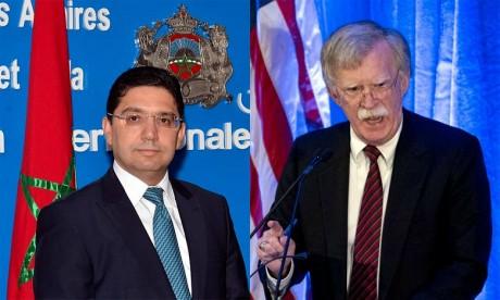 Le ministre des Affaires étrangères et de la Coopération internationale, Nasser Bourita et le conseiller à la Sécurité nationale du Président Donald Trump, John Bolton. Ph : DR