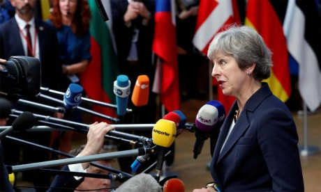 La Première ministre britannique, Theresa May, s'adressant aux médias, lors d'un sommet européen à Bruxelles,  le 17 octobre 2018. Ph. Reuters