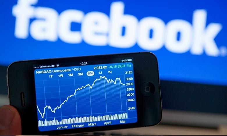 Facebook avait perdu 120 milliards de capitalisation boursière en une seule séance en juillet, du jamais vu à Wall Street. Ph : AFP