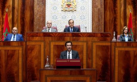 Le ministre de l'Économie et des Finances, Mohamed Benchaâboun, présente le projet de loi de Finances 2019 devant les deux Chambres du Parlement. Ph : MAP