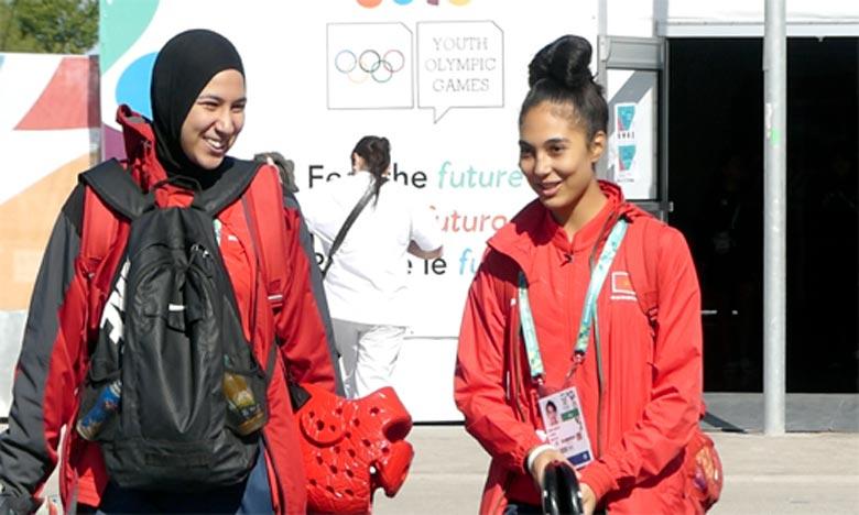 Fatima Zahra Abou Fares (+63 kg) battu l'Iranienne Himati Kimya lors du 4e round décisif après la fin des trois rounds à égalité de points. Ph : MAP