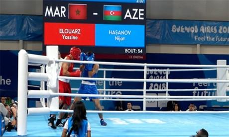 Yassine Elouarz s'est qualifié dans la catégorie mi-lourd (-69kg) suite à sa victoire face à Nijat Hasanov de l'Azerbaïdjan. Le jeune pugiliste devra affronter l'Argentin Brian Agustin Arregui. Ph : MAP