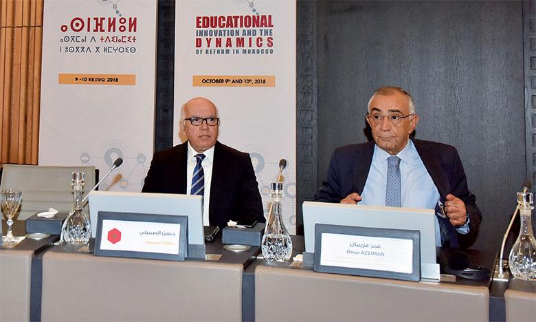 M.Azziman (à droite) a mis l'accent sur l'importance de l'encouragement de la culture de l'innovation chez l'acteur éducatif.                               Ph. Kartouch